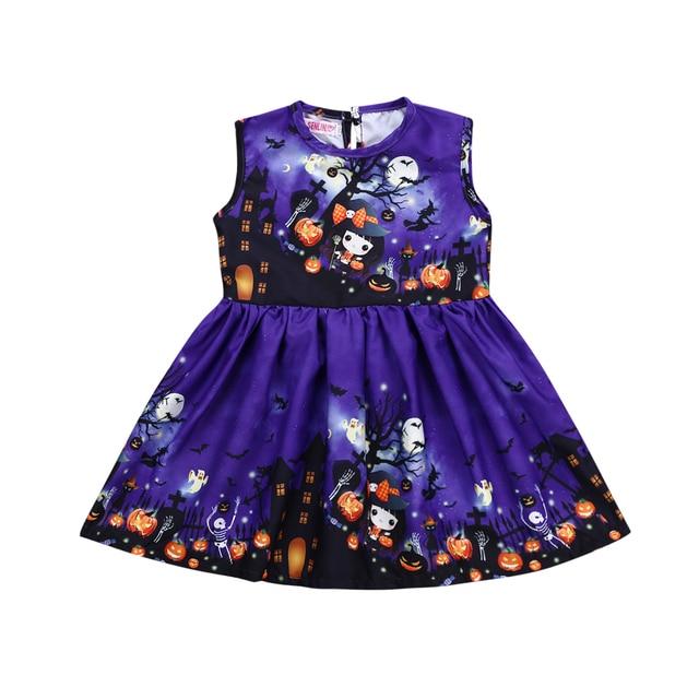 4c77f3c1d698 2-6T Halloween costume for kids Toddler Baby Girl Party Cartoon pumpkin  print Princess Dress Vestidos Cute Infantil Costume
