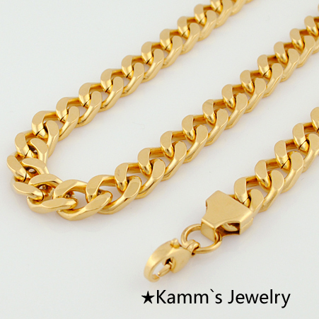 Top Quality Never Fade Man 595*9.5 mm Fashion Simple Design Gold Plated Flat Curb Chain Necklace for Men Women accessories KN040