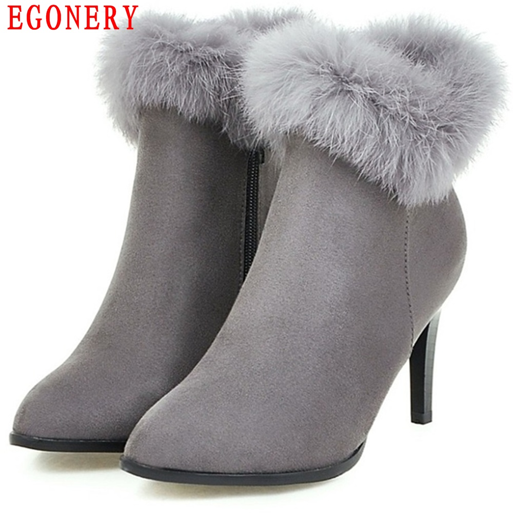 EGONERY Fashion Style Nubuck Fur Pointed Toe Thin High Heel Womens Shoes Ankle Spring Autumn Boots egonery quality pointed toe ankle thick high heels womens boots spring autumn suede nubuck zipper ladies shoes plus size