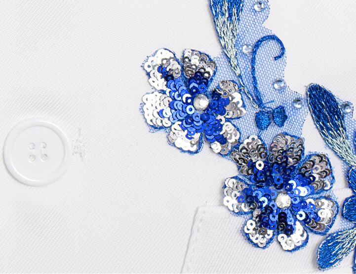 Блейзер Мужской китайский туника костюм мужские свадебные костюмы блесток певица звезда Стиль хор сцена цветок из текстиля бальное платье homme - 6