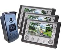 Freeship de dhl 7 Pulgadas de monitor en color de interfonos de vídeo de control de acceso 1 cámara de 3 monitor de Cámara de La Puerta villa de vídeo timbre de la puerta