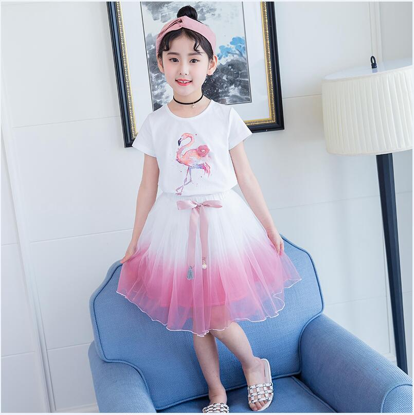 6cf6a580a3099 Flamingos two pieces suit casual holiday dresses for a girl on graduation  day teenage clothes for girls 12 years old 5pcs/lot