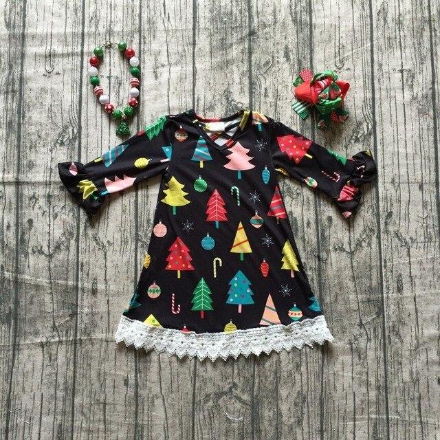 4 עיצובים במלאי ילדי בנות חג המולד עץ שמלת בנות ארוך שרוול חג המולד שמלת רך milksilk שמלת עם אביזרים