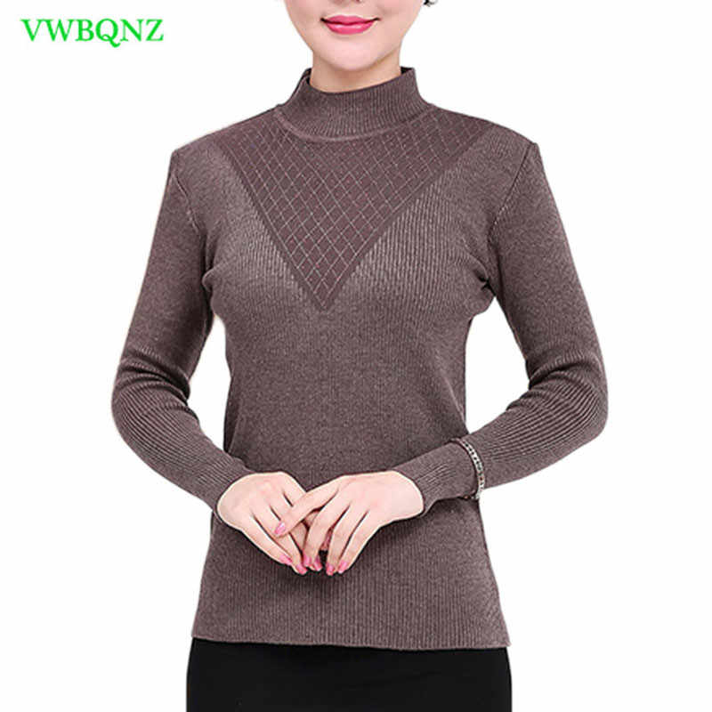 Middle-aged Women Sweater Spring Autumn Half High collar Wild Bottoming Shirt Women's Casual Hedging One Size Sweater Coat A383