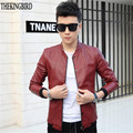 Red Leather Jacket Men's 2016 New Slim Baseball Collar Machine Wagon Jackets Thin PU Leather Jacket Autumn European Style 3XL