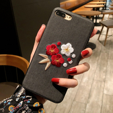 Shockproof 3D Embroidery Flower Case for iPhone XS MAX XR X 8 plus 7 6 6s TPU+PC Hard Back Cover Vintage Floral