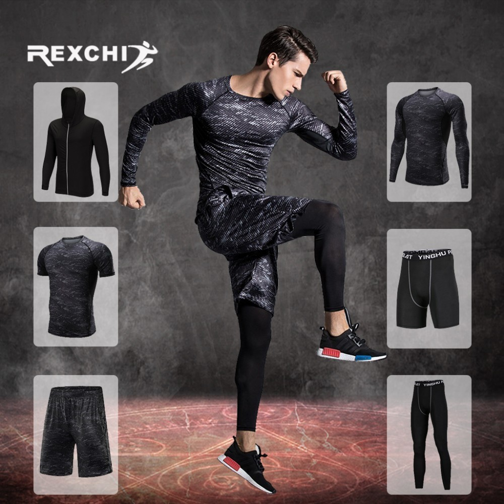 REXCHI Men's Tracksuit Compression Sports Suit Gym Fitness Clothes Training Exercise Workout Tights Running Jogging Sport Wear
