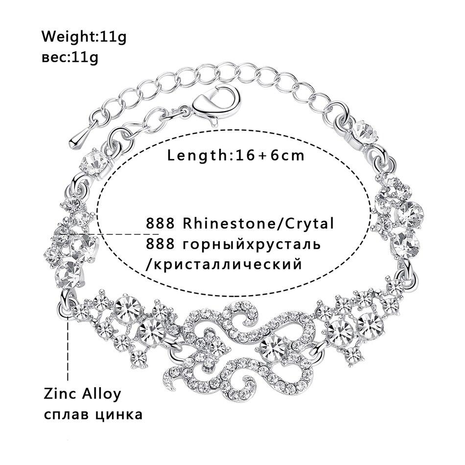 Minmin Klasik Tasarım Bilezik Kadınlar için Gümüş Renk Kristal - Kostüm mücevherat - Fotoğraf 3