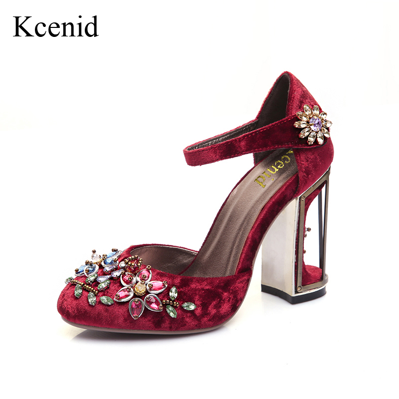 Kcenid Popular velvet vintage shoes woman rhinestone round toe birdcage flowers high heels mary jane shoes