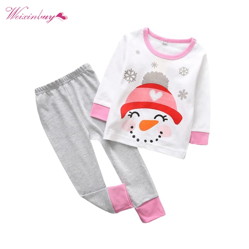 2017 Winter Baby Clothes Sets Christmas Clothing Sets Deer Snow Man Santa Claus Print Pulovers+Pants Sets