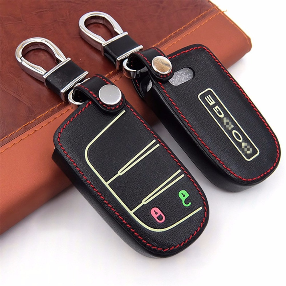 Leather key fob holder case chain cover black leather rotatable with dodge logo fit for dodge