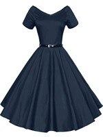 Europe Hepburn Style Hot Dress 1950s 60s Vintage V Neck Short Sleeved Strapeless Big Swing Banquet