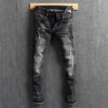 Fashion Classical Men Jeans Black Gray Slim Fit Ripped Jeans Men Retro Washed Vintage Distressed Pants Streetwear Hip Hop Jeans