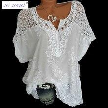 Six Senses  Fashion Women's Lace Blouse  V-neck Embroidered Short-sleeved Bat Shirt Chiffon Blouse Womens Tops 2019 HM004 hotpink crew neck bat sleeves splited back blouse