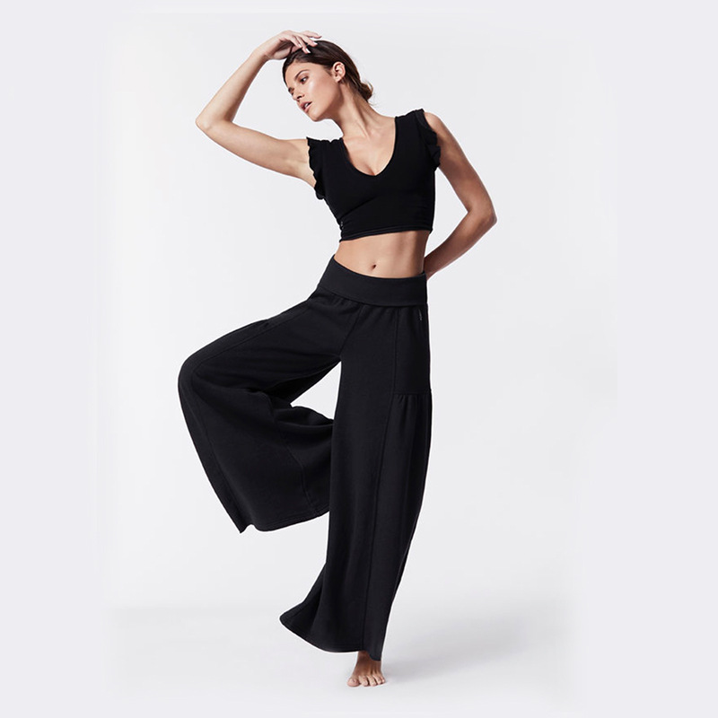 Dance Pants Women Black Lyrical Pants Boot Cut Yoga Pants Sports Trousers Hip Hop Harem Pants Middle Waist Loose Bottom