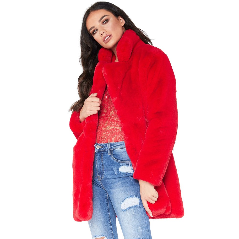 2018 נשים חורף סתיו ליידי מעילי פרווה מעיל דש ארוך שרוול רופף מזדמן חם מעילי אופנה