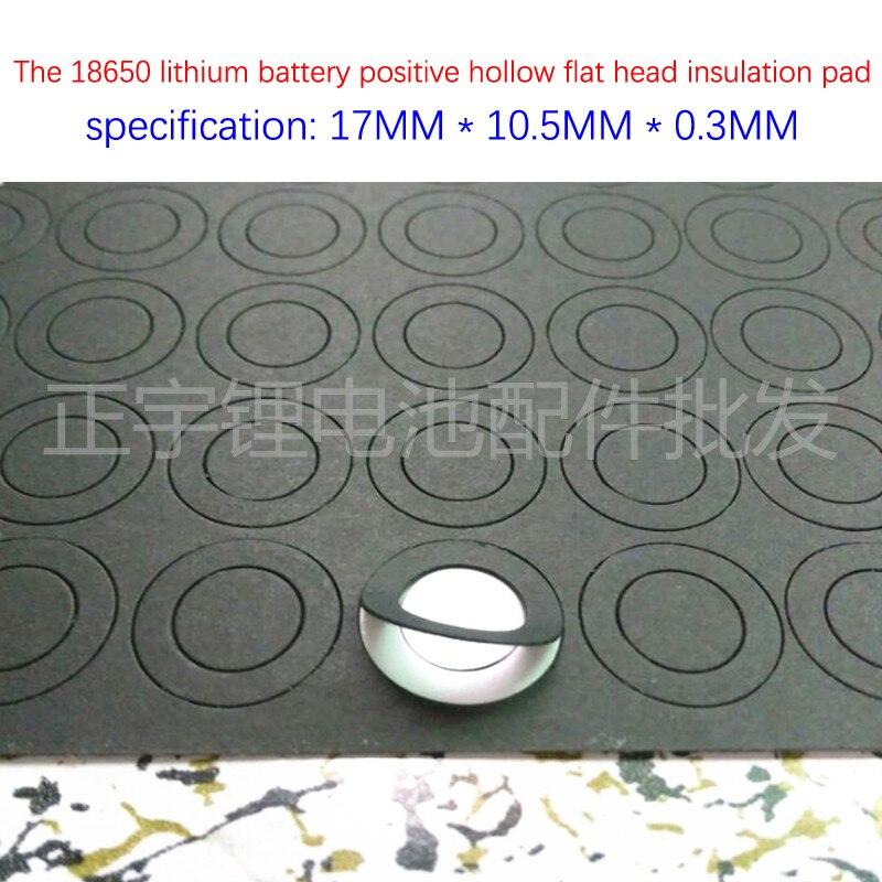 100 pçs/lote 1 seção 18650 bateria de lítio positivo cabeça chata oco superfície da junta de isolamento pad méson 17mm * 10.5mm * 0.3mm