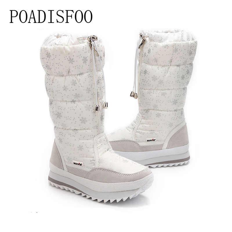 2ca06690ba POADISFOO 35-43 Women Boots Plush Warm Snow Boots cotton Winter Boots  Waterproof Snow Botas zipper up DOWN boot .XZ-05