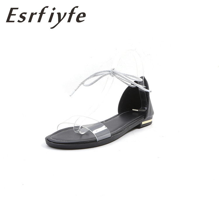 ESRFIYFE Genuine Leather Lace Up Gladiator Sandals Women Flats 2018 Summer Causal Shoes Ladie Beach Sandals Fashion Transparent