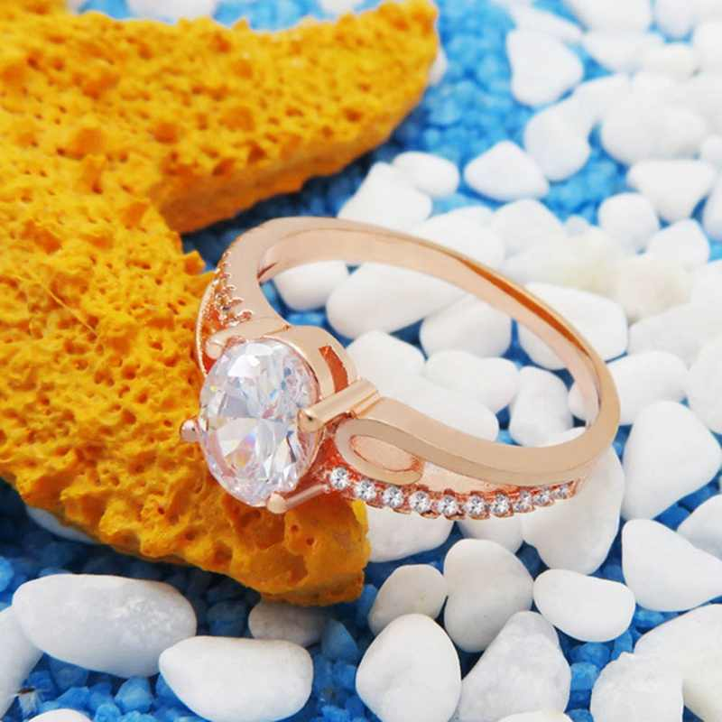 Exquisite Women Oval Rings Jewelry Bride Engagement Wedding Ring  Fancinating Ornaments Stylish Ring