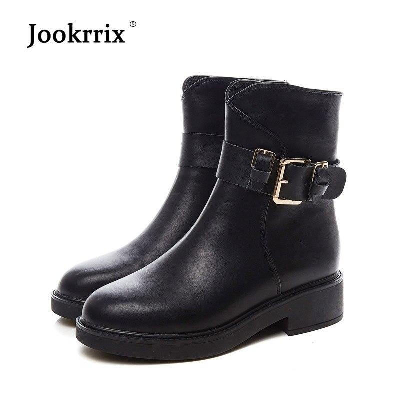 Foortware Chaussure With Chaussures Noir black Marque Martin D'automne D'hiver Jookrrix Bottes Femelle Rétro De Cuir Véritable Mode Fourrure Chaud Fur Femmes Dame En 9DWEHIY2