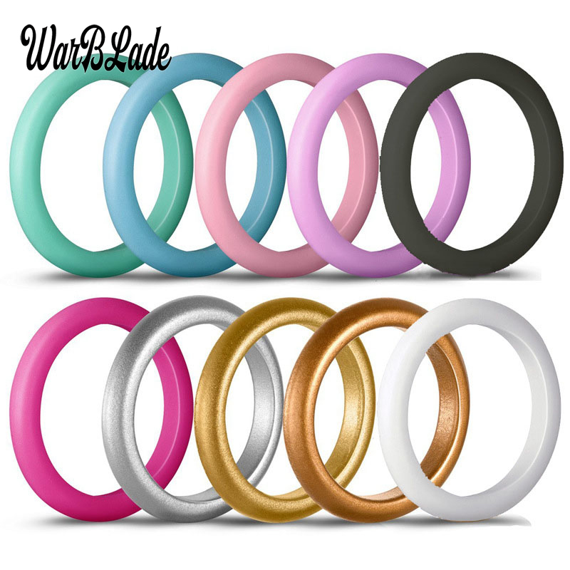 New Fashion 10pcs/set 3mm Hypoallergenic Crossfit Flexible Sports Rubber Rings Food Grade FDA Silicone Finger Ring For Women