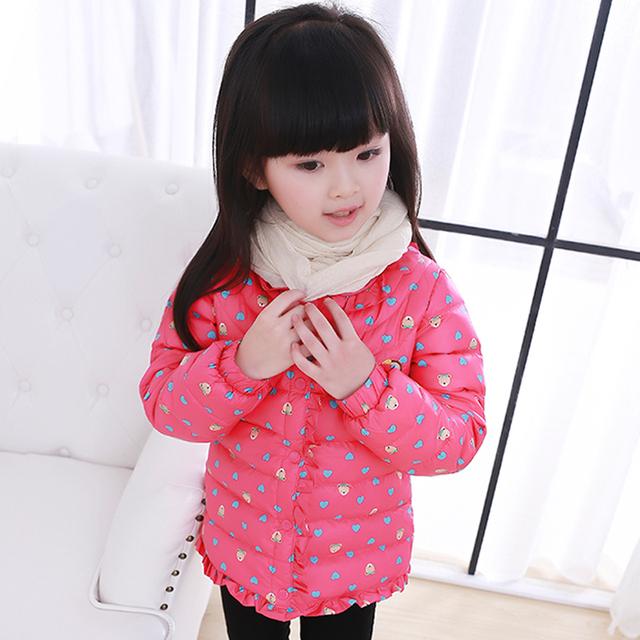 Meninas casacos de inverno casaco de algodão grosso moda com bolinhas crianças casacos roupa das crianças Down & Parkas para 110-150 cm