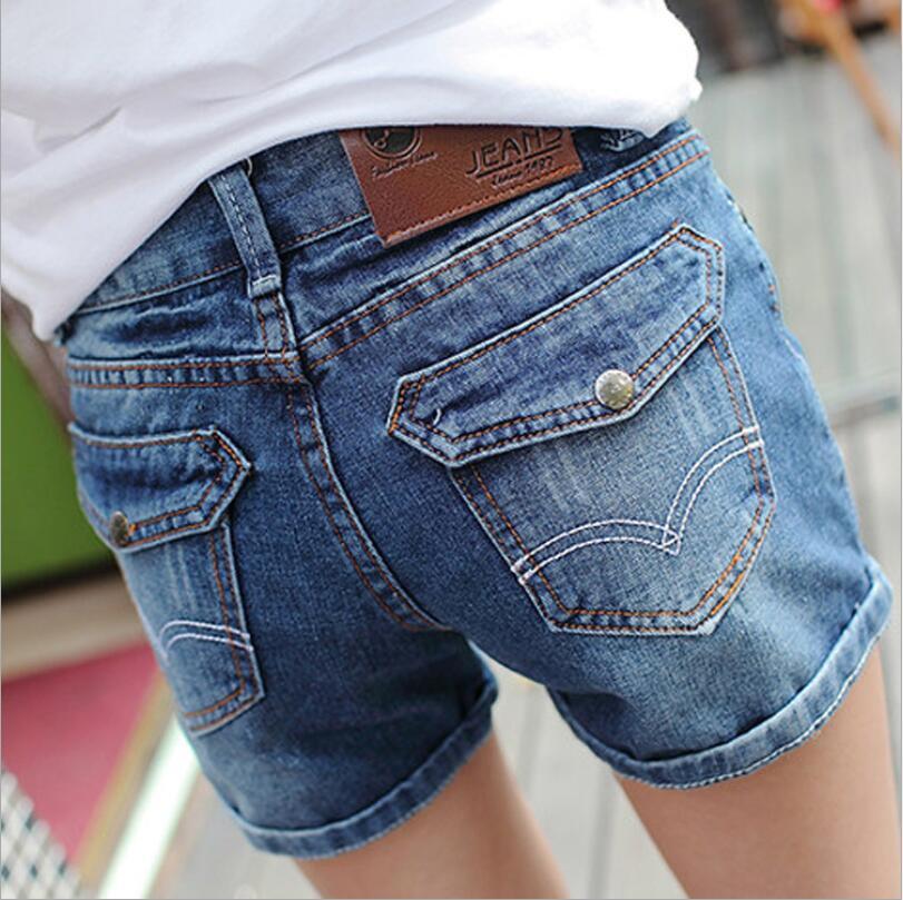 Blue Pigeon new light-colored waist denim shorts female loose big yards curling Korean jeans