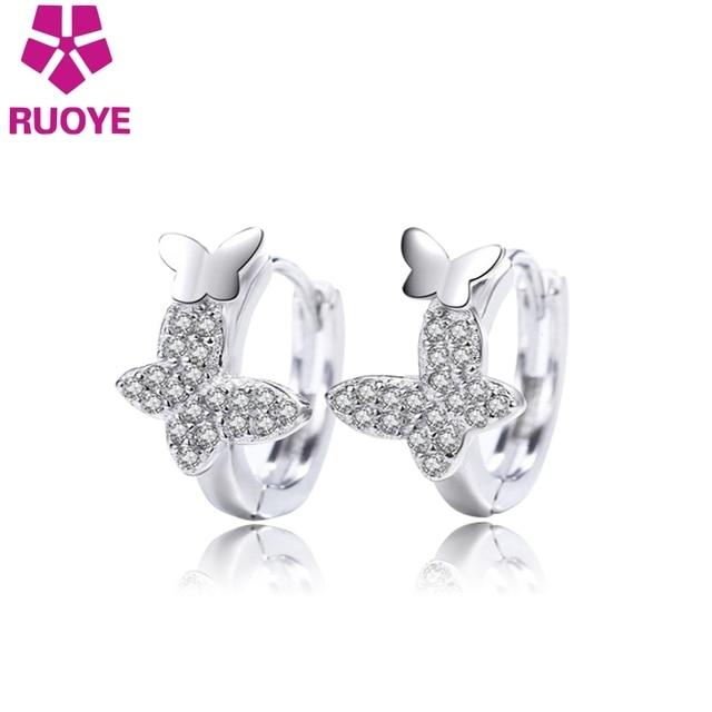 RUOYE Fashion Women Stud Earring Quality Double Butterfly Crystal Earring For Women Silver Ear Jewelry 2017 New Arrival