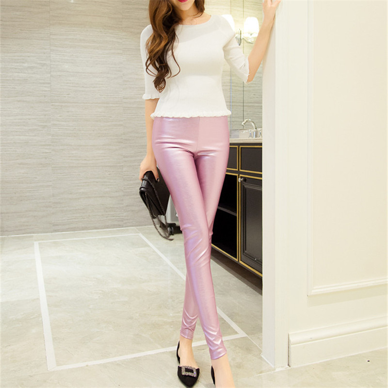 Spring Women Clothing Fitness Leggings Pants Elastic PU Leather Pencil Pants THIN Style Ladies Skinny Faux Leather Trousers Pant
