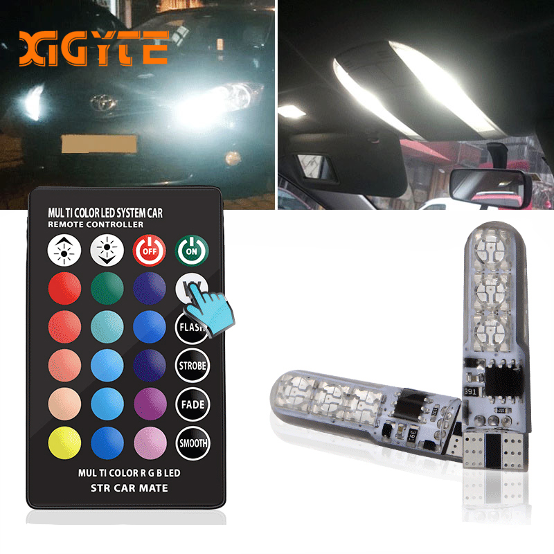 T10 W5W LED Car Styling Lights LED Bulbs RGB With Remote Control 194 168 501 Strobe Led Lamp Reading Lights White Red Amber 12V