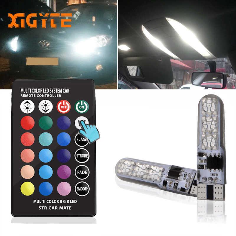 T10 W5W LED Mobil Styling Lampu Lampu LED RGB dengan Remote Kontrol 194 168 501 Lampu Strobo Led Lampu Baca putih Merah Amber 12V