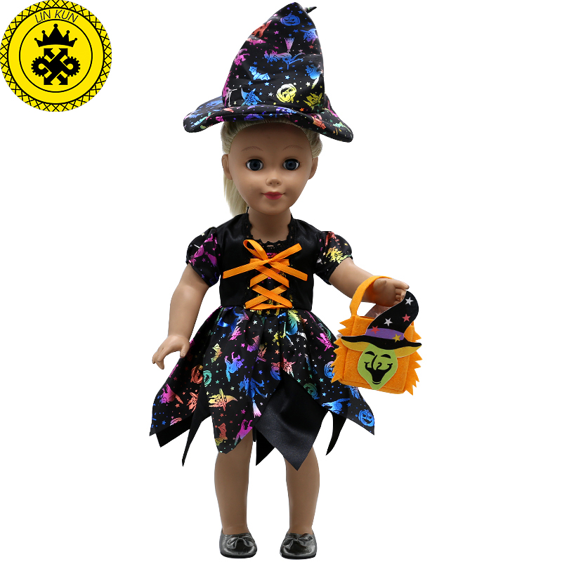 American Girl Doll Clothes Halloween Witch Dress Cosplay Costume Doll Clothes for 16-18 inch Dolls Madame Alexander Doll MG-256 american girl doll clothes ears and tail tiger leopard sets doll clothes with shoes free for 16 18 inch dolls 3 colors mg 262