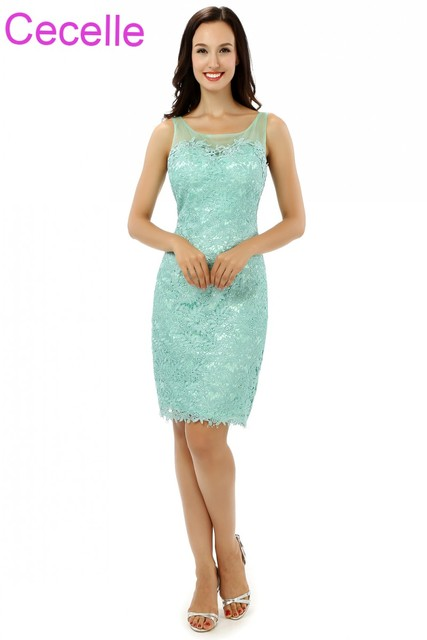 Mint Lace Sheath Short Mother Of The Bride Dresses Sleeveless Ed Knee Length S Special Occasion