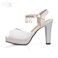 Chainingyee sexy peep toe summer sandals chain rhinestone belt buckle platform white beige pink thick high heels women's shoes