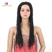 Golden Beauty 22inch 2X Twist Braids Wig Long Black Synthetic Hair Wigs For Black Women