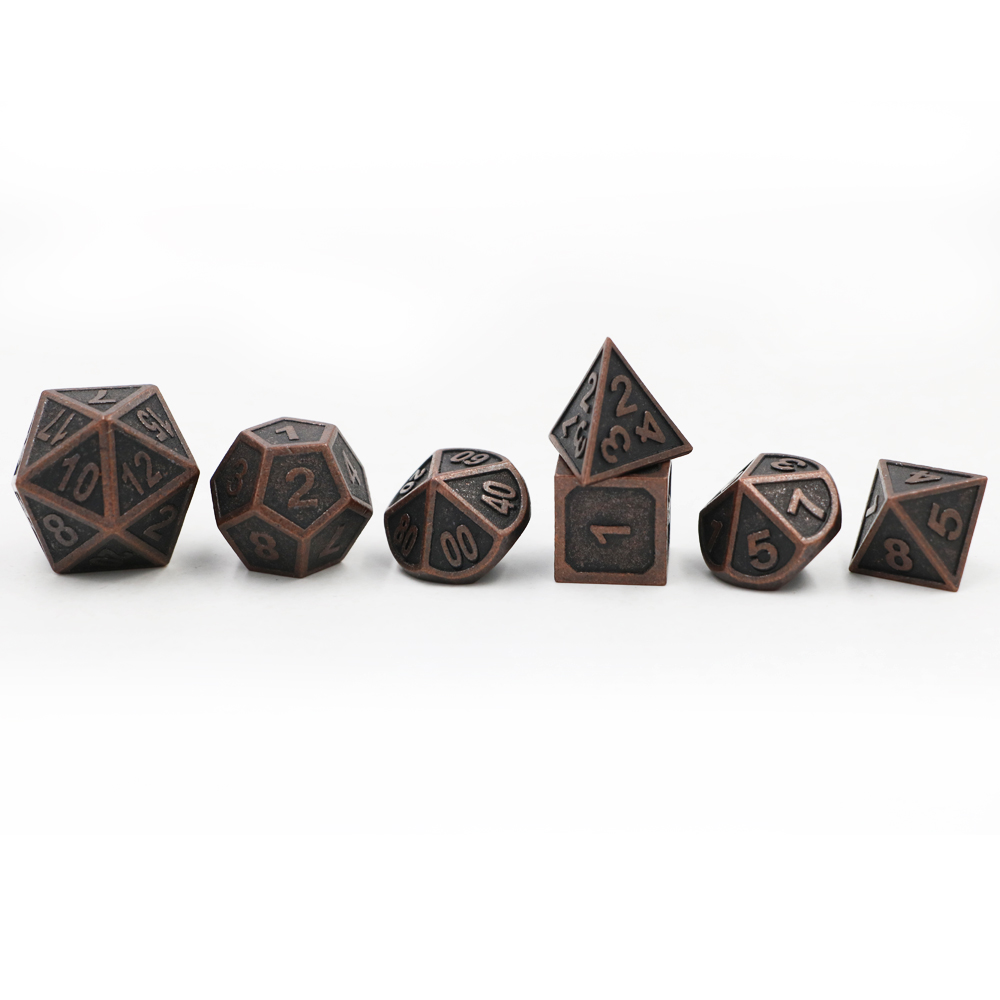 Dungeons & Dragons 7pcs/set Creative RPG Dice D&D Metal Dice DND Game Dice Different Color Red Copper Carving Numbers