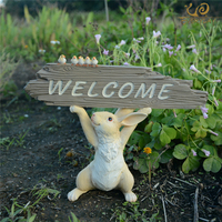 Everyday Collection home cute Rabbit Figure Fairy Garden welcome sign Bunny decoration Gift for child Doll Micro Landscape
