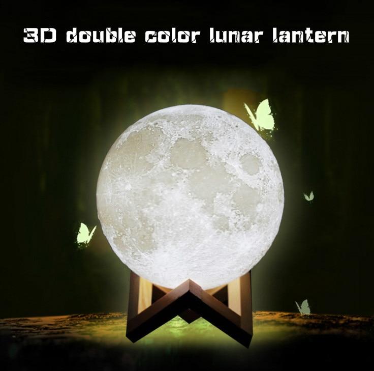 Drop shipping Deux-couleur Lune Capteur de Lumière de Nuit d'économie d'énergie Lumière 3D Impression De Chevet Créative Lampe de Bureau Led lumière Lune Lampe