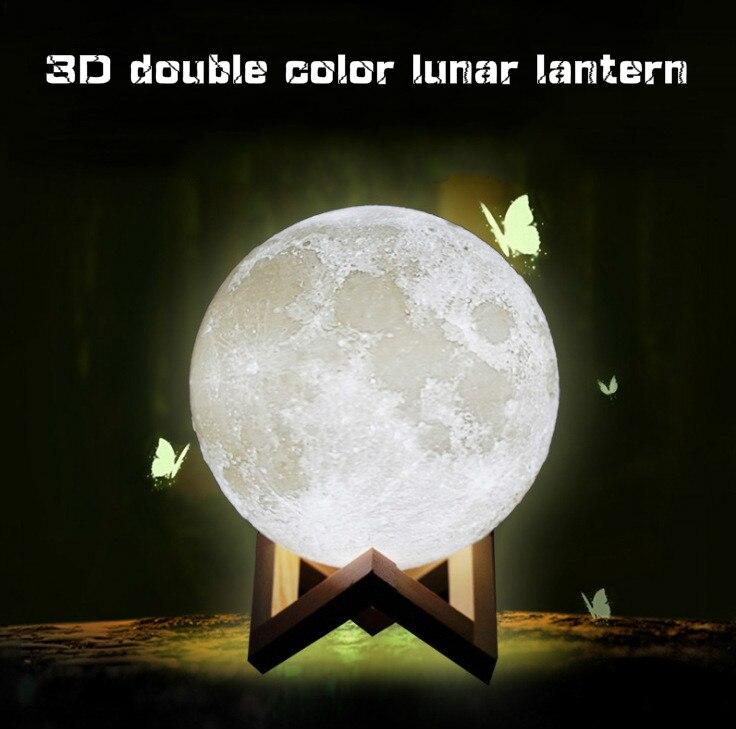 Drop shipping Two-color Moon Light Sensor Energy-saving Night Light 3D Printing Bedside Creative Desk Lamp Led Light Moon Lamp