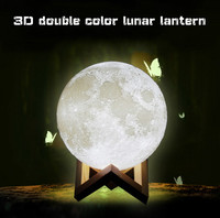 Drop shipping Two color Moon Light Sensor Energy saving Night Light 3D Printing Bedside Creative Desk Lamp Led Light Moon Lamp