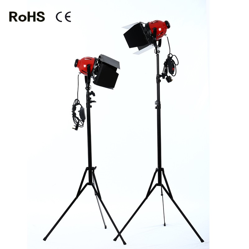 Photography Studio:2*800w Photo Video Studio, Film and Television Continuous Lighting Light Spotlight&2*2.4m thicken light stand