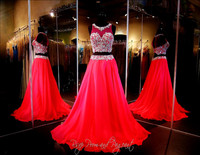 Red Beading Two Piece Junior Prom Dresses 2016 Robe Longue Femme Soiree Mariage Evening Formal Party