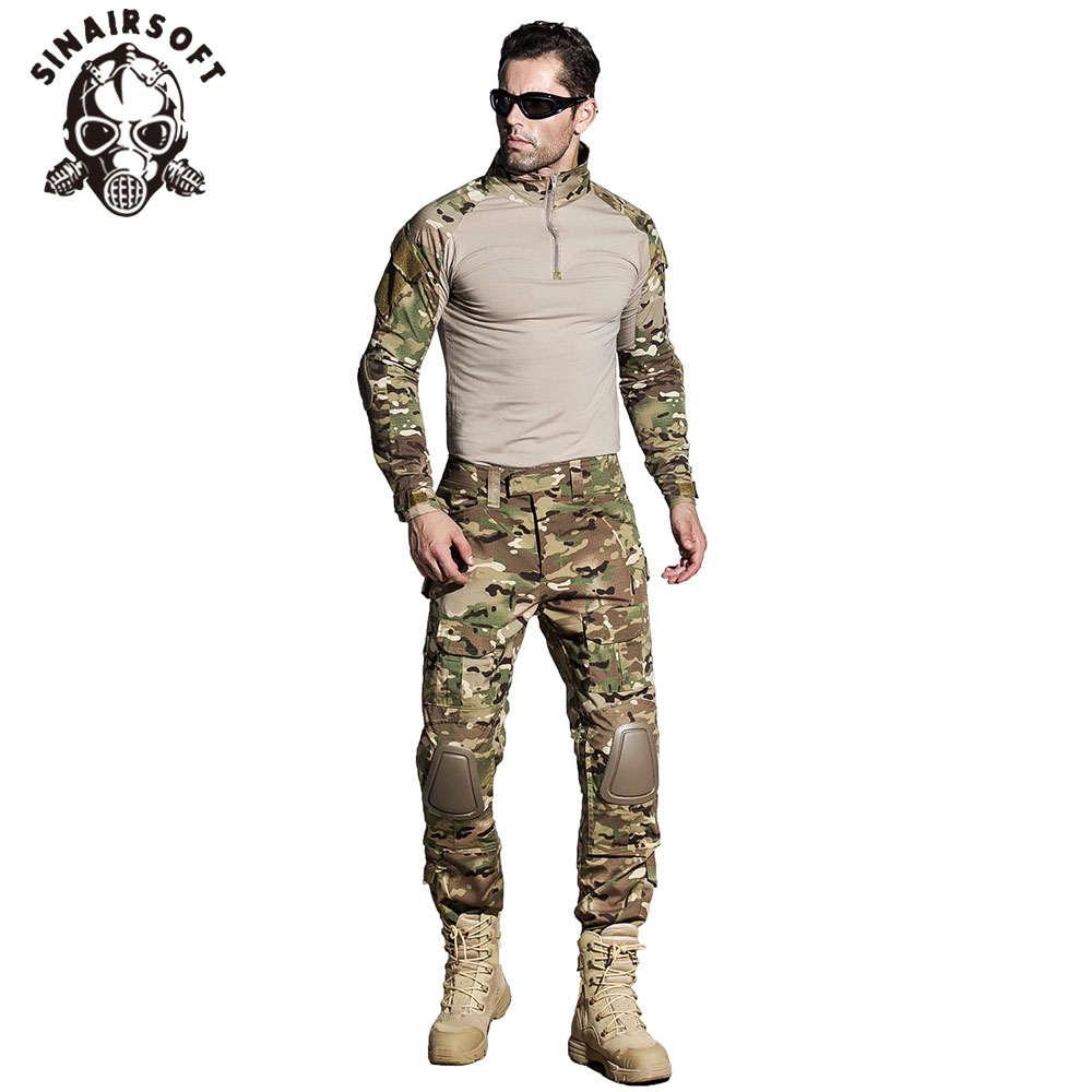 SINAIRSOFT Military Uniform Multicam Army Combat Shirt Uniform Tactical Pants With Knee Pads Camouflage Suit Hunting