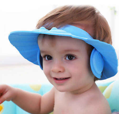 ホットアジャスタブルウォッシュ頭髪防水キャップベビーキッズソフトシャンプーバスシャワーキャップハットウォッシュ髪のシールドキャップ帽子目プロテクター