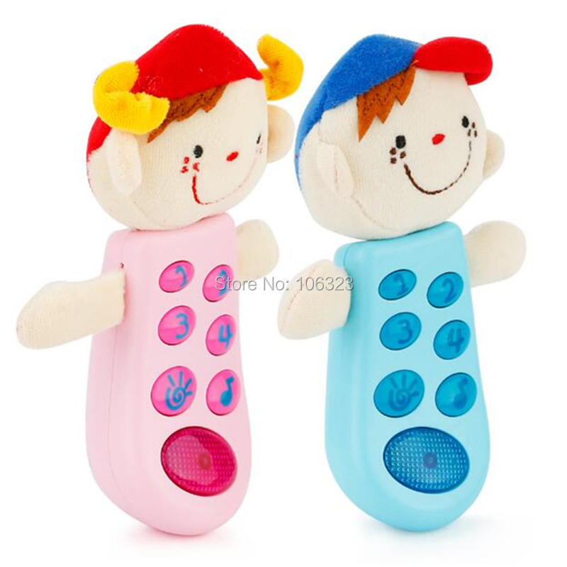 New Design Cartoon Cloth Head Mobiles Toy, Little Baby Soft Intellect Learning Machine, Girls Boys Light Music Toys Phone Dolls