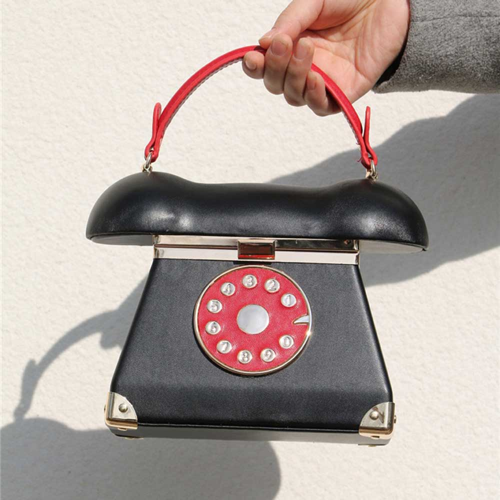New Fashion vintage Phone Styling Red Black pu leather ladies Evening Bag casual totes purse women