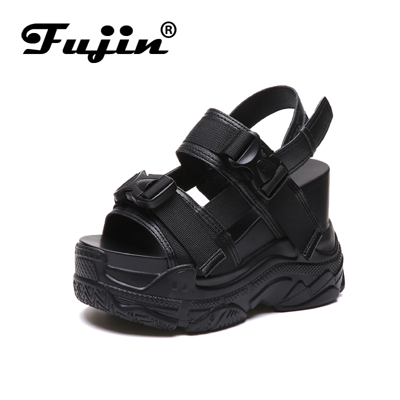 Fujin High Heeled Sandals Female Increased Shoes Thick Bottom Summer 2019 New Women Shoes Wedge with Fujin High Heeled Sandals Female Increased Shoes Thick Bottom Summer 2019 New Women Shoes Wedge with Open Toe Platform Shoes