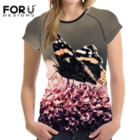 FORUDESIGNS Black Butterfly Prints Women Short Sleeved Summer T Shirt Fashion Casual Tee Tops Elastic Feminina
