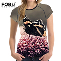 FORUDESIGNS Black Butterfly Prints Women Short Sleeved Summer T Shirt Fashion Casual Tee Tops Elastic Feminina T-shirt Clothing